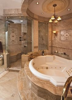 Gorgeous bathroom ceiling - circular, stone, medallion, recessed lights, chandelier