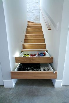 Hide all the eyesores in your home with these easy tricks (like stairs turned into drawers for shoes)