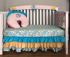 Baby Crib Bedding Sets, Crib Sets, Boppy Pillow Cover, Pink Yellow, Blue Flowers, Cribs, Etsy Shop, Blanket, Pillows