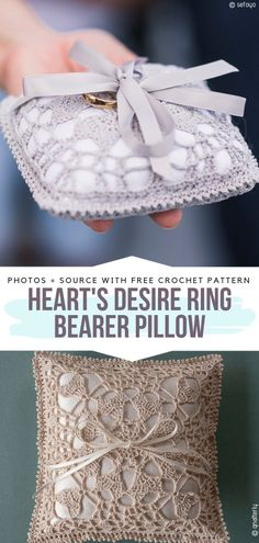 Hearts Desire Ring Bearer Pillow Free Crochet Pattern This sweet little pillow for wedding rings will be an elegant touch during the ceremony. Crochet Rings, Bead Crochet, Crochet Shawl, Free Crochet, Free Knitting, Wedding Pillows, Ring Pillow Wedding, Crochet Bouquet, Crochet Flowers