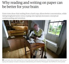 Why reading and writing on paper can be better for your brain / TheGuardian | #readytoread #readytocommunicate #ebooks #books