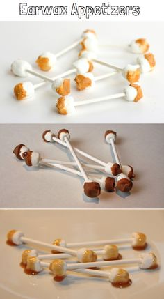 Earwax Halloween Treats using marshmallows, lollipop sticks, and caramel or melted butterscotch. Yucky yumminess!