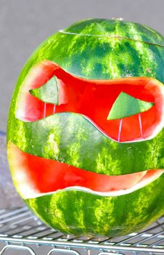 Carve out a mask in a watermelon to transform a refreshing summer snack into a Ninja Turtle treat!