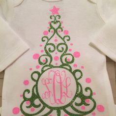 Christmas Tree Monogram Cuttable Frame