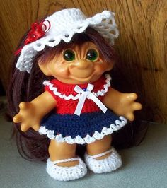 CLOTHES RED WHITE  BLUE OUTFIT / MJ SHOES FOR VINTAGE 6 - 7 DAM TROLL