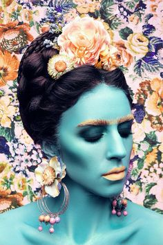 """""""Frida Blue"""" Open Edition Print by Dasha Matrosova - HNWgallery Make Up Art, New Perspective, Simple Shapes, Limited Edition Prints, Contemporary Artists, Online Art, Fashion Art, Buy Art, Art Gallery"""