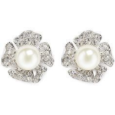 Kenneth Jay Lane Crystal pavé flower stud earrings ($90) ❤ liked on Polyvore featuring jewelry, earrings, white, pave crystal jewelry, white earrings, flower earrings, crystal jewelry and pave jewelry