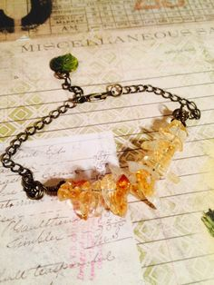 Honey Drip Citrine and Brass Bracelet by GemJelly on Etsy