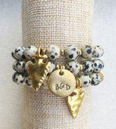 Dalmation jasper arrowhead gemstone bracelet by BlushingGemDesigns on Etsy https://www.etsy.com/listing/475740947/dalmation-jasper-arrowhead-gemstone