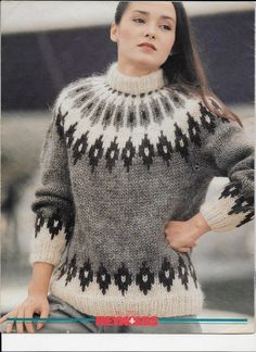 Sweater Knitting Patterns, Knitting Designs, Icelandic Sweaters, Fair Isle Pattern, Fair Isle Knitting, Vintage Knitting, Pattern Fashion, Knitwear, Knit Crochet
