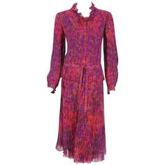 1975 Chanel Haute-Couture Graphic Fuchsia Print Pleated Silk Dress Ensemble  | From a collection of rare vintage evening dresses and gowns at https://www.1stdibs.com/fashion/clothing/evening-dresses/