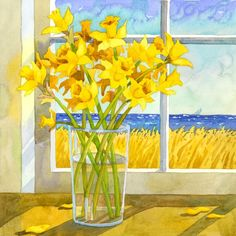 Daffodiles In The Window Yellow and Blue Still by RobinWetheAltman