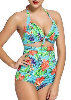 Vintage Pinup Floral Print Halter Push Up High Waisted Bikini Set