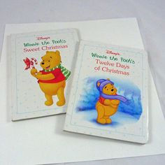 2 board books Winnie the Pooh Disney Christmas  ; love Pooh