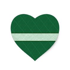 Green Polka Dots and Stripe Heart Sticker