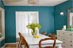 teal walls with all white accents, stunning 'After' Photos of my Dining Room via Ashley Avila