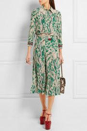GucciEmbellished printed silk crepe de chine midi skirt