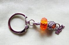 Silver Key Chain with Orange Beads with by BlingItOutLoudCharms