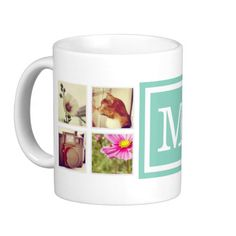 Add 8 or more of your favorite Instagram photos and personalize with your monogram initial or other custom text. You can select from several mug size, style and color options. Click Customize It to move photos and customize text fonts and colors to create your own unique one of a kind design. A great personalized gift for family and friends! #custom #personalized #photo #photo #mug #cute #photo #collage #instagram #instagram #photo #mug #instagram #collage #monogram #keepsake #pictures ...