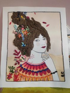 Bordado a mano de ilustración Lady desidia Hand Embroidery Projects, Painting, Art, Painting Art, Paintings, Painted Canvas, Drawings