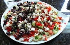An easy, fresh, healthy summer party food food recipe - Recipe: Greek Dip Platter