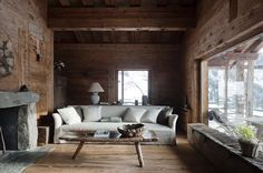 Eich wooden walls in a rustic cabin.