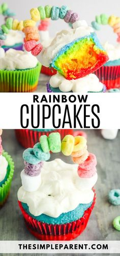 Learn how to make rainbow cupcakes with cake mix! They're perfect for St. Patrick's Day, birthday parties, and more! Add a rainbow cake topper for luck! Rainbow Cupcakes Recipe, Cake Mix Cupcakes, Cupcake Recipes, Cupcake Cakes, Dessert Recipes, Rainbow Frosting, Brownie Recipes, Desserts With Few Ingredients, Store Bought Frosting