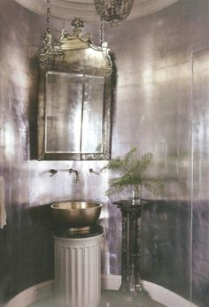 Mary McDonald dramatic silver leaf walls in a powder room -- delight by design: silver paper + mirrors on chains Home Design, Interior Design, Design Ideas, Silver Bathroom, Silver Wallpaper Bathroom, Gothic Bathroom, Bling Bathroom, Metallic Wallpaper, Light Bathroom