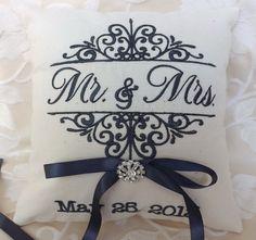 Ring bearer pillow Mr. and Mrs. ring bearer by ElegantThreadsEtc, $32.95