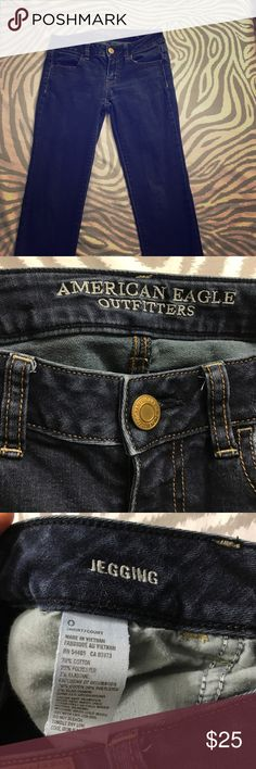 American Eagle Jeggings Blue jean Jeggings- Size 0 short American Eagle Outfitters Jeans Skinny