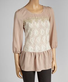 Taupe Floral Lace Top #zulily #zulilyfinds