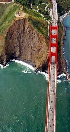 : Golden gate Bridge, San Francisco A nice view from sky. One of my many dreams come true.to cross the Golden Gate, in San Francisco. Places Around The World, Oh The Places You'll Go, Places To Travel, Travel Destinations, Places To Visit, Around The Worlds, Travel Stuff, Ponte Golden Gate, Golden Gate Bridge