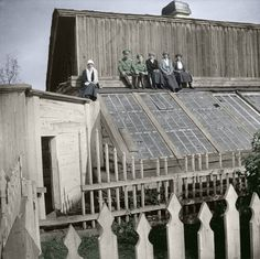During the winter of 1917-18 the imperial family were held in the governor's mansion at Tobolsk, in western Siberia. Mel Gilliard took this picture of them on the roof. It would be their last Christmas.