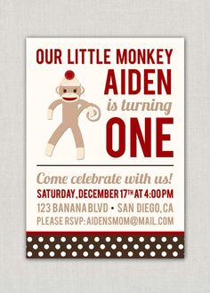 A great sock monkey themed party invitation.