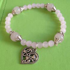 Rose Quartz Gemstone Bead Bracelet by joytoyou41 on Etsy, $30.00