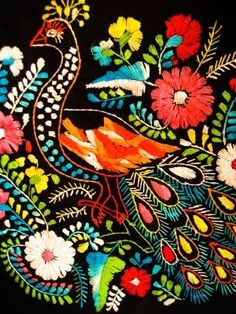 look at that peacock!! mexican embroidery