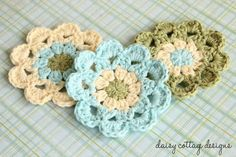 Japanese Flower Motif Crochet Pattern - Daisy Cottage Designs http://daisycottagedesigns.net/crochet/japanese-flower-motif-crochet-pattern/