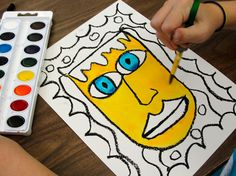 James Rizzi inspired watercolor portraits with oil pastel borders