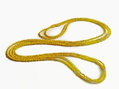 Long seed bead necklace yellow layer necklace seed by xEsFunThings
