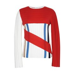 J.W. Anderson Striped Combo Crewneck Sweater (€570) ❤ liked on Polyvore featuring tops, sweaters, crewneck sweaters, merino wool sweater, merino sweater, sweater pullover and long sleeve pullover sweater