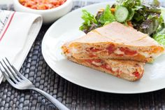 Pizza Panini with Red-Leaf Salad. Visit http://www.blueapron.com/ to receive the ingredients.