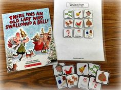 There Was an Old Lady Who Swallowed a Bell by Lucille Colandro helps target holiday vocab & work on sequencing in a story. See more adaptable activities by theautismhelper.com