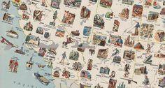 Mapa vintage (62), forrado de ilustrações, para planejamento de Road Trip US