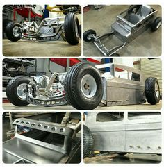 mini hot rod in bare metal.
