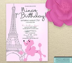 DIY Pink Poodles in Paris Themed Birthday by KittyMeowBoutique, $30.00