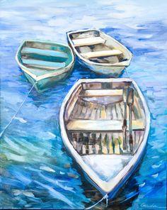 Trío de barco pintura al óleo sobre lienzo de Krista Arendsen