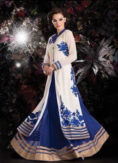 Lustrous White And Blue Resham Work Lehenga Choli | Wedding Lehenga Choli | Designer Lehenga Choli | Bridal Lehenga Choli | Item Code: 3399