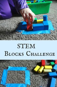 Easy-to-set-up STEM challenge with just blocks and painter's tape!