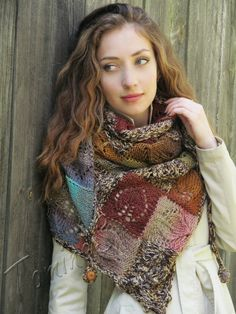 "Knit shawl ""Marshy woodlands"" (knitted shawl, handmade wrap, knitting wool shawl, knit patchwork, entrelac)"