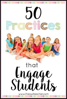 50 Practices that Engage Students Make learning engaging with these 50 teaching tips, ideas, and techniques to engage student learning in your elementary classroom. Classroom Management Strategies, Teaching Strategies, Teaching Tips, Learning Activities, Class Management, Behavior Management, Kinesthetic Learning, Cooperative Learning, Learning Spaces
